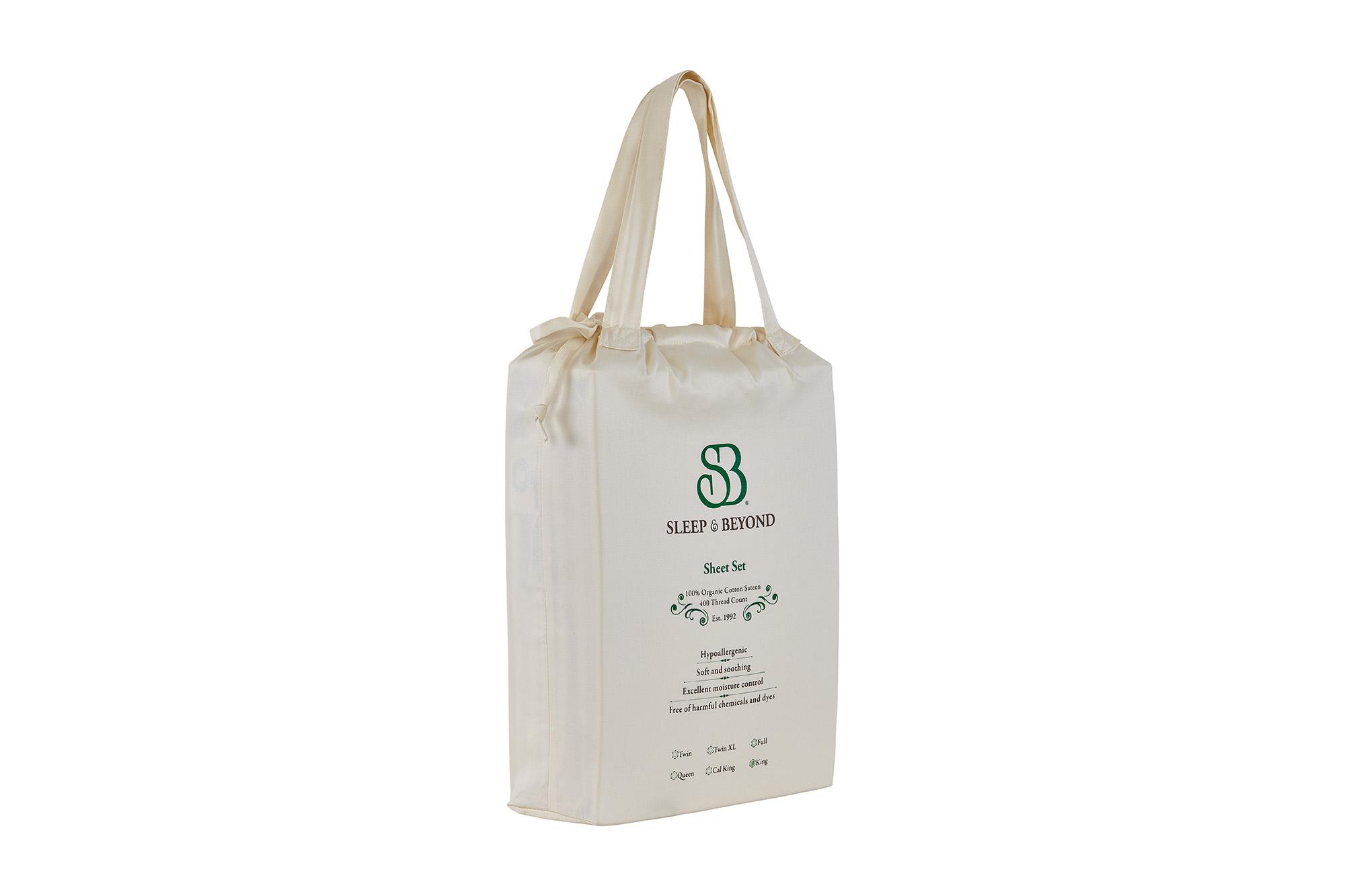 Organic Cotton Sheet Set Packaging Side View